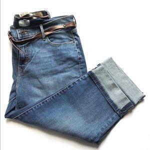 Levi's 515 Jeans Belted Capri Misses sz10 Cuffed